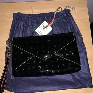 Arcadia clutch/wristlet black patent leather